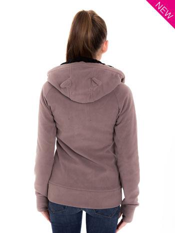 Brązowa polarowa bluza z kapturem z uszkami                                  zdj.                                  3
