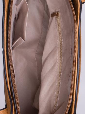 Brązowa pozioma torba ze złotymi detalami                                  zdj.                                  4