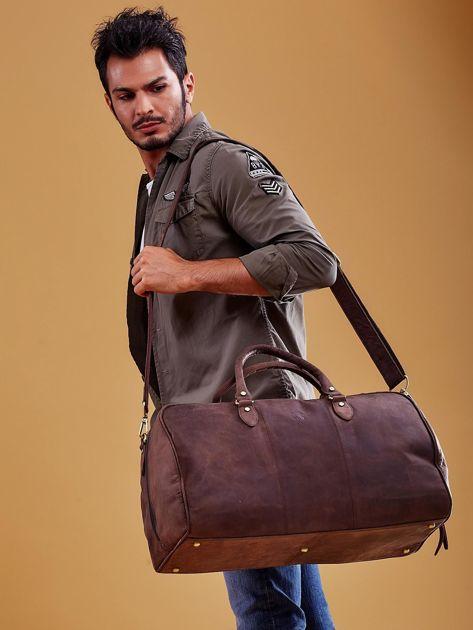 Brązowa skórzana męska torba podróżna                              zdj.                              13