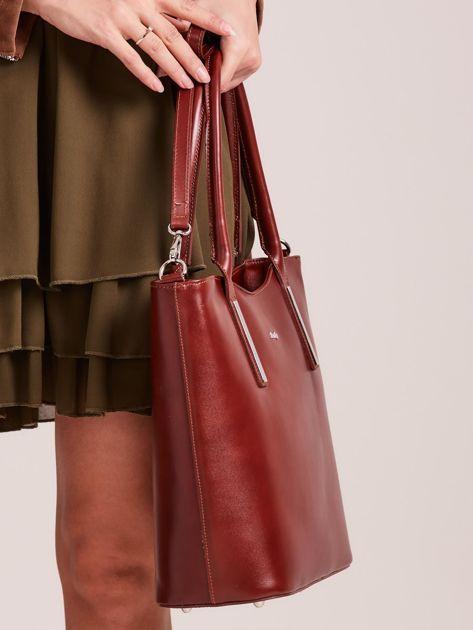 Brązowa skórzana torebka z odpinanym paskiem                              zdj.                              2