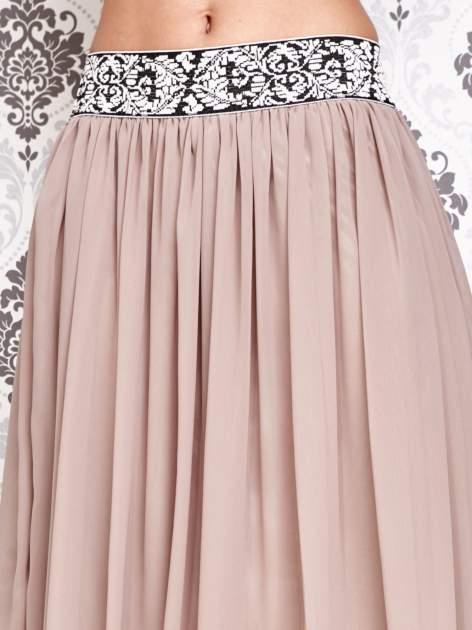 Brązowa spódnica maxi z wyszywanym paskiem                                  zdj.                                  5