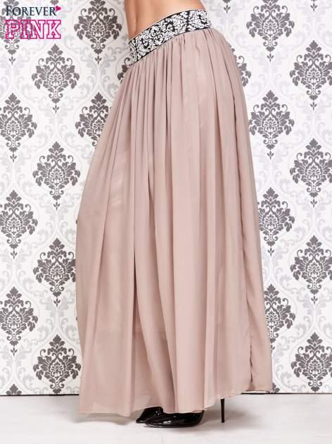 Brązowa spódnica maxi z wyszywanym paskiem                                  zdj.                                  2