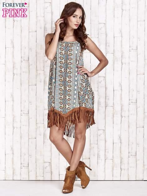 Brązowa sukienka w etniczne wzory z frędzlami                                  zdj.                                  2