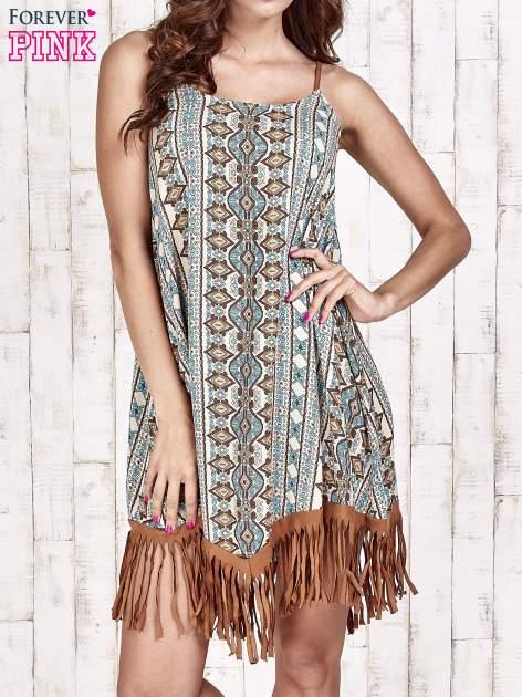 Brązowa sukienka w etniczne wzory z frędzlami                                  zdj.                                  1