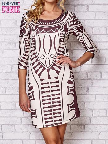 Brązowa sukienka w geometryczne wzory                                  zdj.                                  1