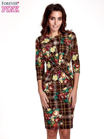 Brązowa sukienka w kratę z kwiecistym nadrukiem                                   zdj.                                  1