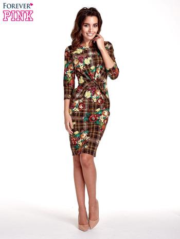 Brązowa sukienka w kratę z kwiecistym nadrukiem                                   zdj.                                  7