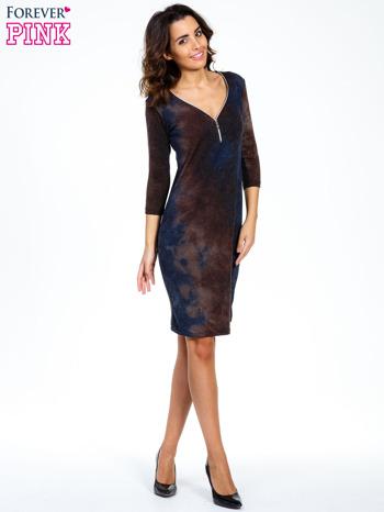 Brązowa sukienka z rękawem 3/4                                  zdj.                                  2