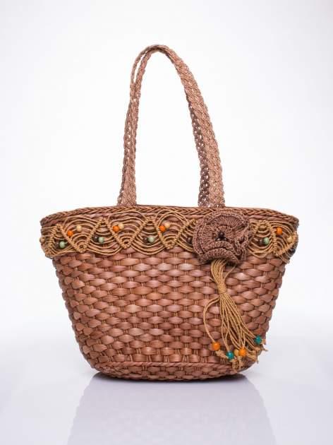 Brązowa torba koszyk plażowy z frędzlem                                  zdj.                                  2
