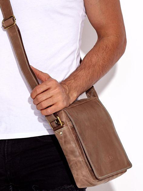 Brązowa torba męska skórzana na ramię                              zdj.                              4