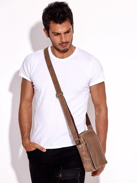 Brązowa torba męska skórzana na ramię                              zdj.                              5