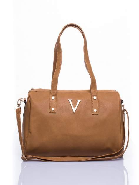 Brązowa torba na ramię ze złotym emblematem                                  zdj.                                  1