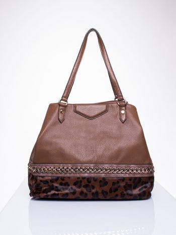Brązowa torba z panterkowym motywem                                  zdj.                                  1