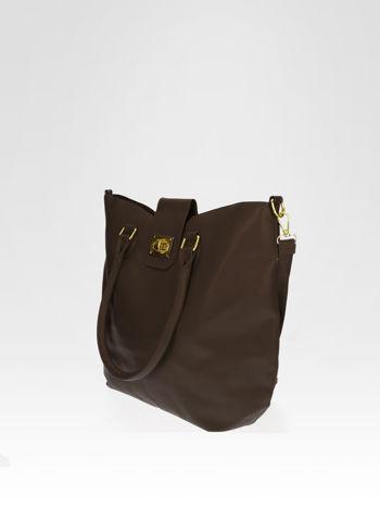 Brązowa torebka city bag z zatrzaskiem                                  zdj.                                  6