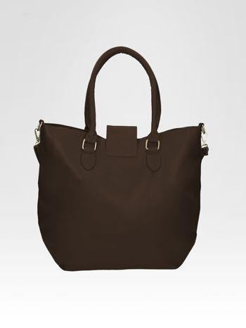 Brązowa torebka city bag z zatrzaskiem                                  zdj.                                  4