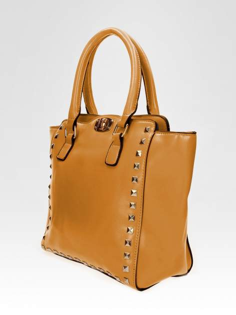 Brązowa torebka na ramię z dżetami                                  zdj.                                  7