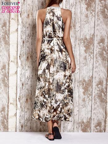Brązowa wzorzysta sukienka maxi z dżetami                                   zdj.                                  2