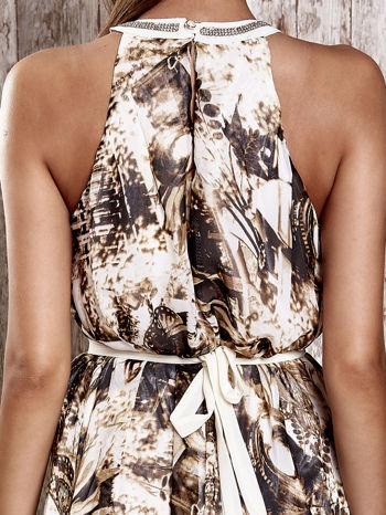Brązowa wzorzysta sukienka maxi z dżetami                                   zdj.                                  7