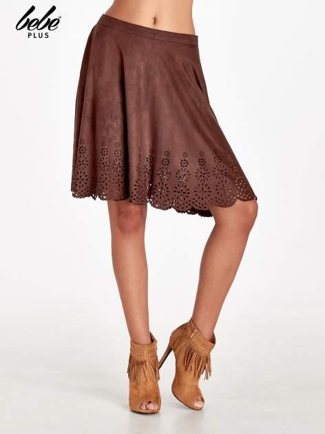 Brązowa zamszowa spódnica w stylu boho                                  zdj.                                  1