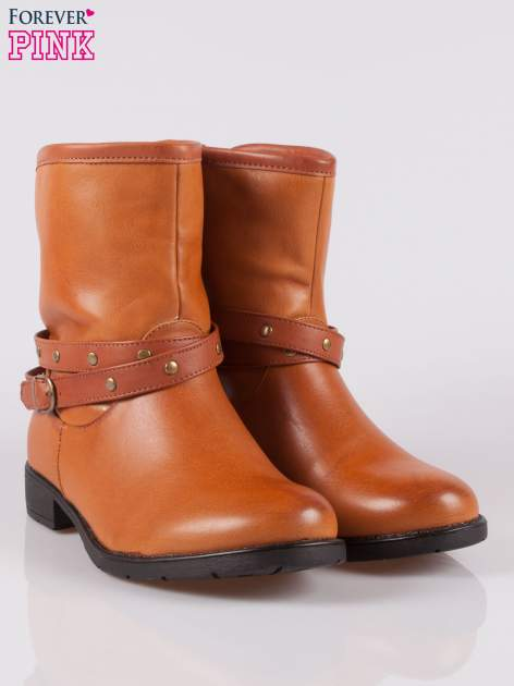 Brązowe botki w stylu biker boots                              zdj.                              2