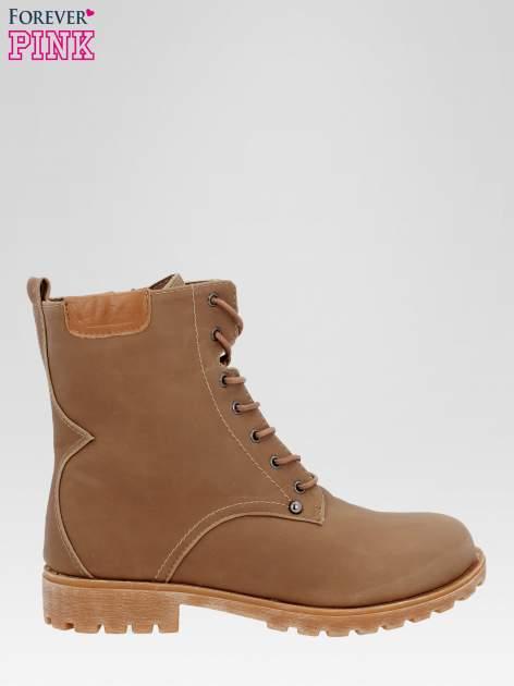 Brązowe damskie buty trekkingowe typu traperki