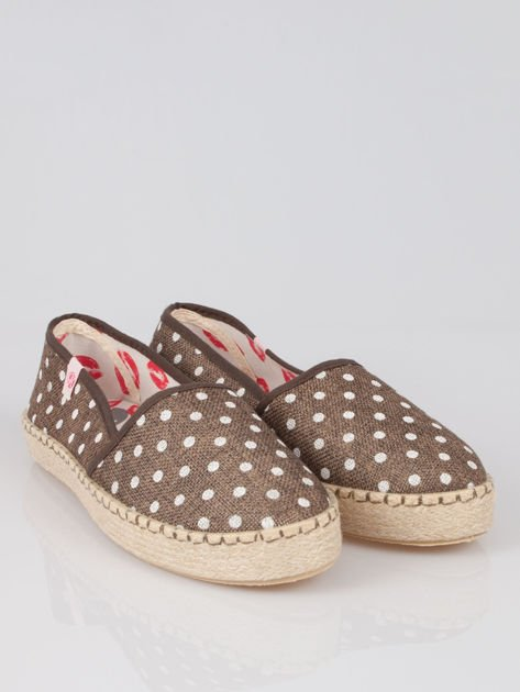 Brązowe espadryle Willow Kiss w groszki