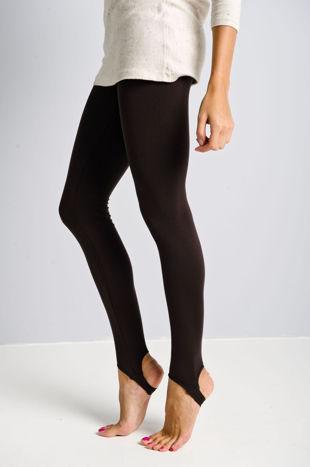 Brązowe legginsy zakładane na stopę                                  zdj.                                  2