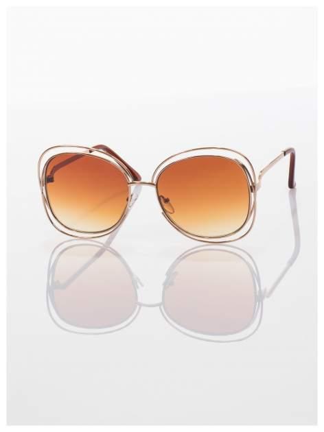 Brązowe okulary FASHION ze złotymi ramkami ,wyjątkowe stylizowane na Chloe