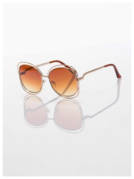 Brązowe okulary FASHION ze złotymi ramkami ,wyjątkowe stylizowane na Chloe                                  zdj.                                  2