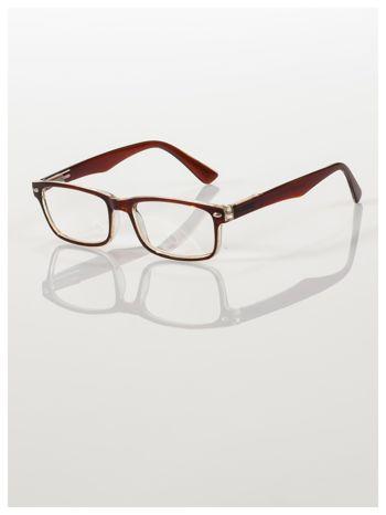 Brązowe okulary korekcyjne +2.0 D ,model WAYFARER do czytania z systemem FLEX na zausznikach +GRATIS PLASTIKOWE ETUI I ŚCIERECZKA Z MIKROFIBRY