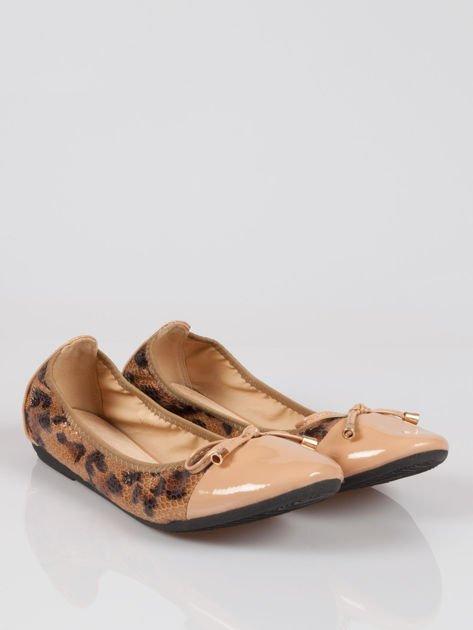 Brązowe panterkowe balerinki faux leather Wild na gumkę                                  zdj.                                  2