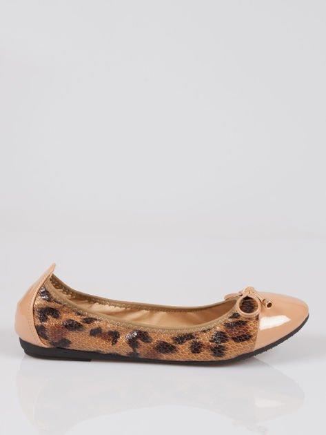 Brązowe panterkowe balerinki faux leather Wild na gumkę                                  zdj.                                  1