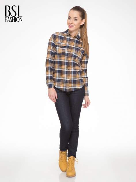 Brązowo-granatowa damska koszula w kratę z kieszonkami                                  zdj.                                  2