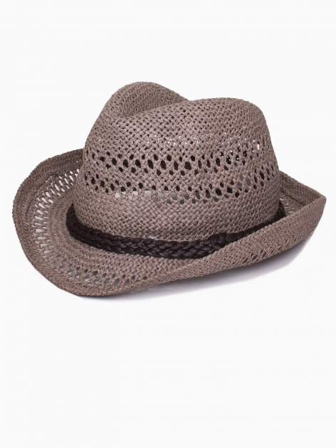 Brązowy damski kapelusz kowbojski z ciemną plecionką                                  zdj.                                  4