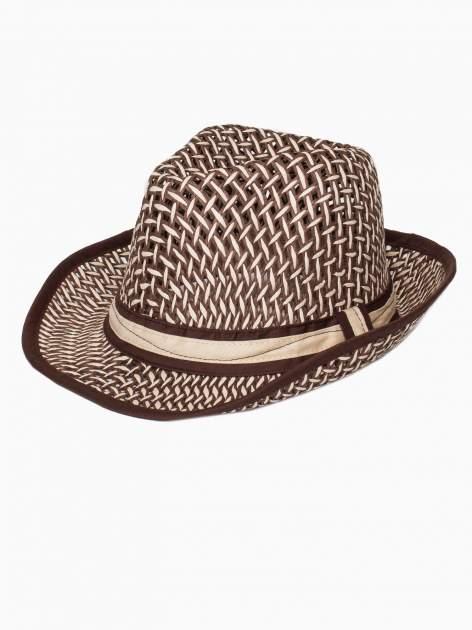 Brązowy kapelusz słomiany z dużym rondem i ciemną wstążką                                  zdj.                                  4