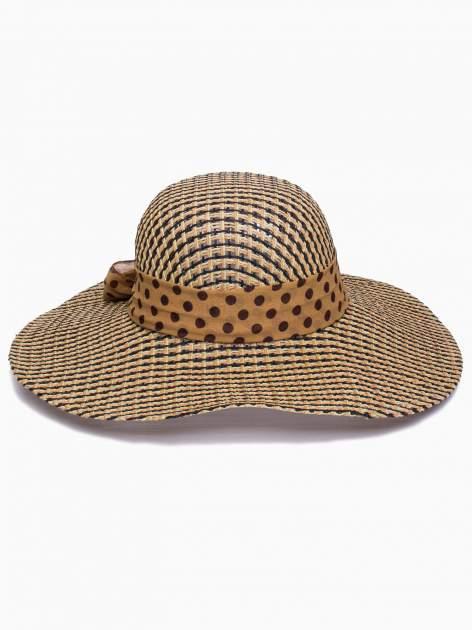 Brązowy kapelusz słomiany z szerokim rondem i apaszką                                  zdj.                                  5