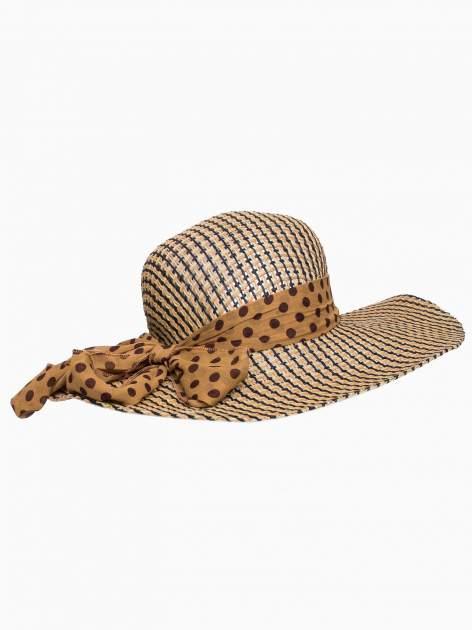 Brązowy kapelusz słomiany z szerokim rondem i apaszką                                  zdj.                                  4