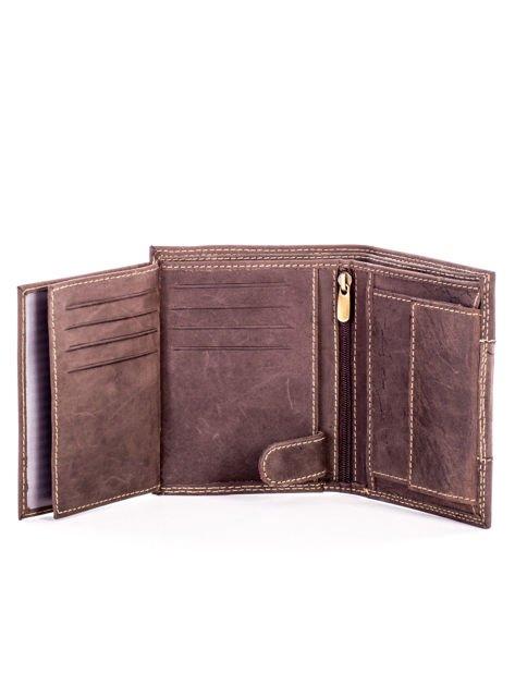 Brązowy męski skórzany portfel z materiałowym modułem                              zdj.                              6
