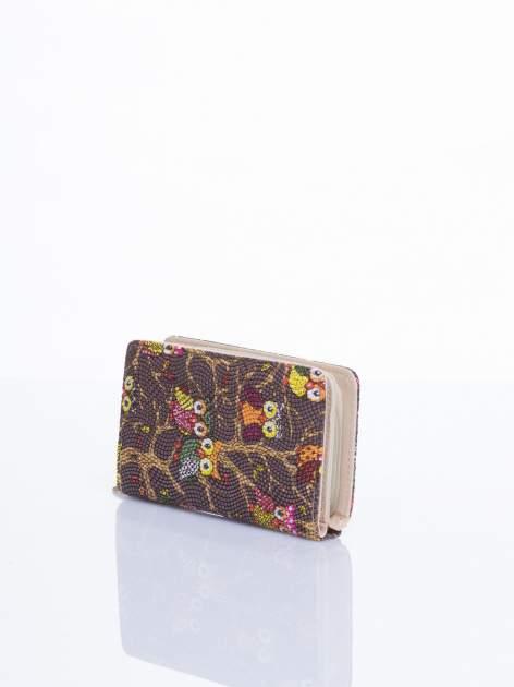 Brązowy mini portfel w sówki                                  zdj.                                  2
