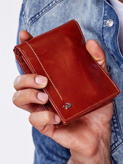 Brązowy portfel męski skórzany z przeszyciem                              zdj.                              1