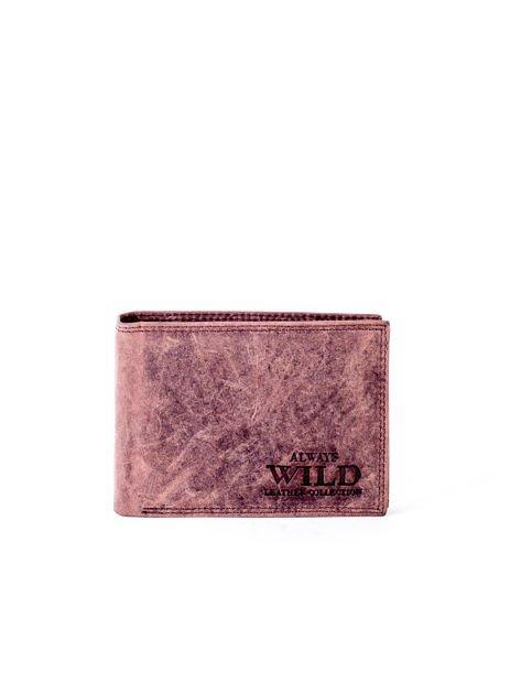 Brązowy portfel męski z przetarciami                              zdj.                              1