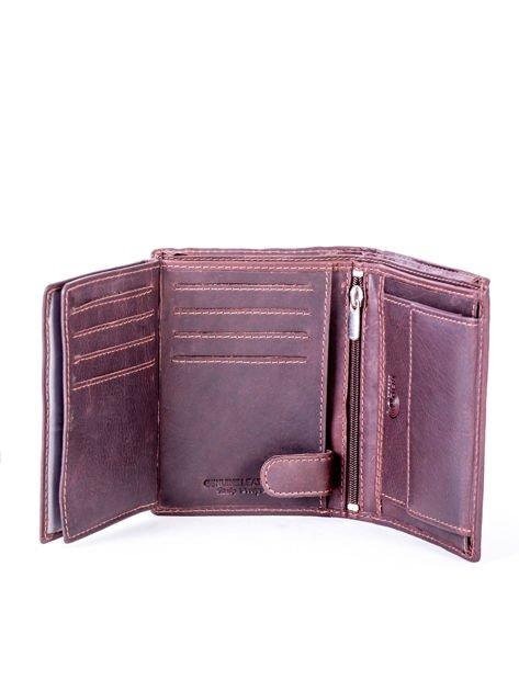 Brązowy portfel skórzany z przeszyciami                              zdj.                              4