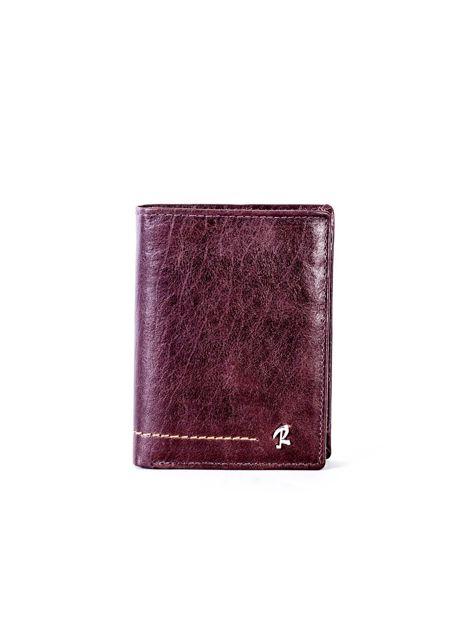Brązowy portfel skórzany z przeszyciem                              zdj.                              1
