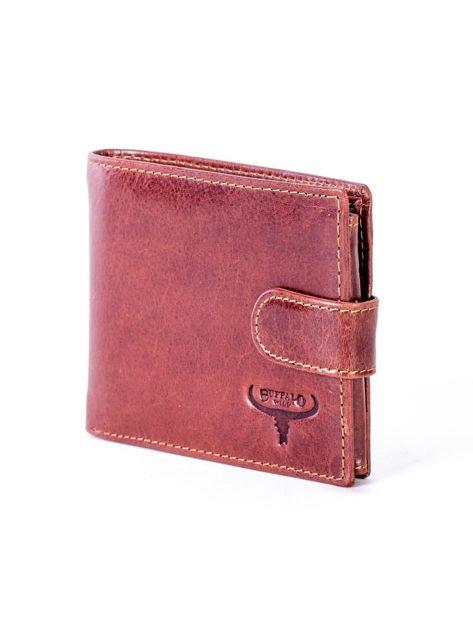 Brązowy portfel skórzany z zapięciem                              zdj.                              3