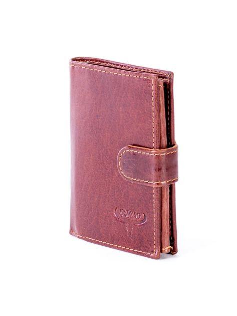 Brązowy portfel ze skóry naturalnej z klapką                              zdj.                              3