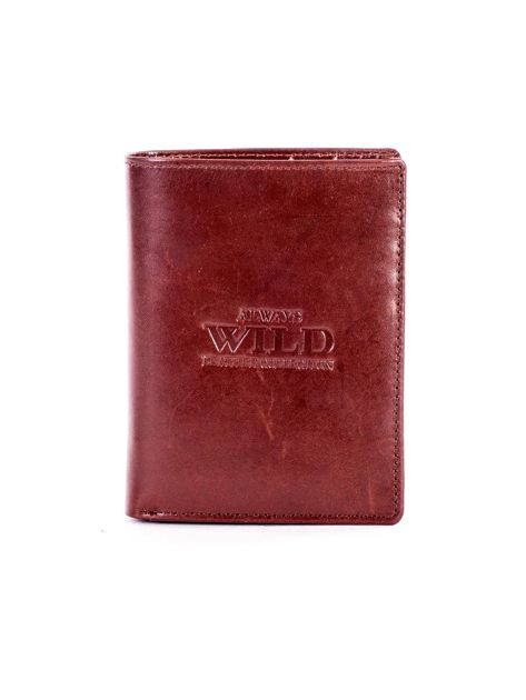 Brązowy portfel ze skóry naturalnej z napisem