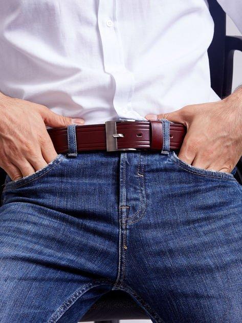Brązowy skórzany pasek męski z przeszyciami                              zdj.                              7