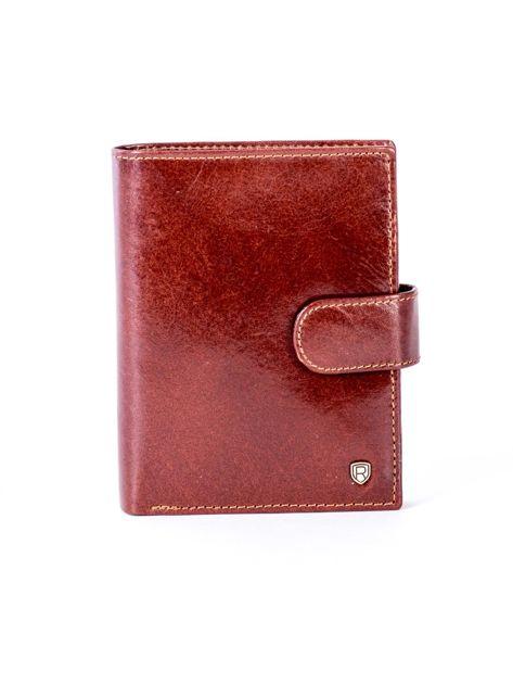 Brązowy skórzany portfel na zatrzask                              zdj.                              1