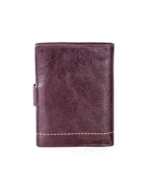 Brązowy skórzany portfel z klapką                              zdj.                              2