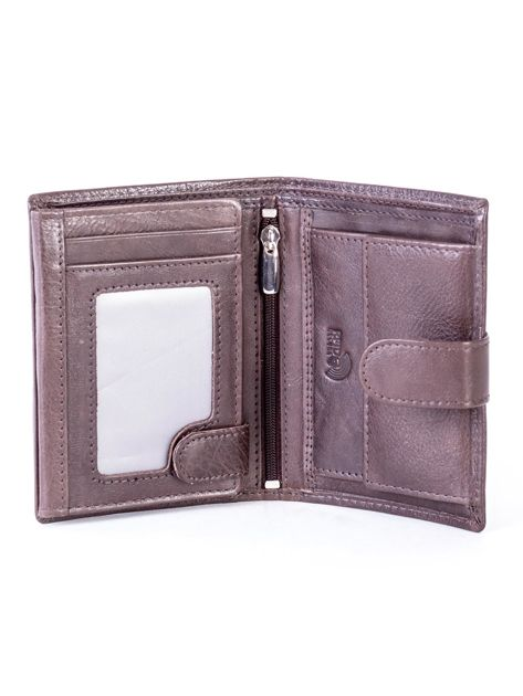 Brązowy skórzany portfel z klapką                              zdj.                              4